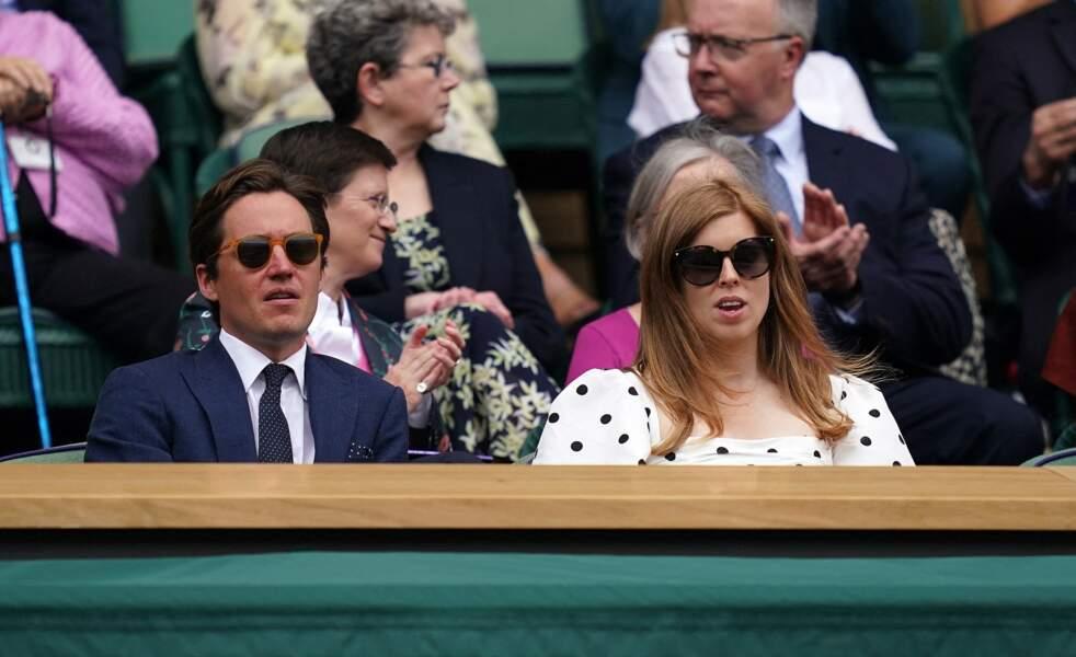 Beatrice d'York avait opté pour une robe signée Self-Portrait, lors de la 10e journée de Wimbledon, le 8 juillet 2021.
