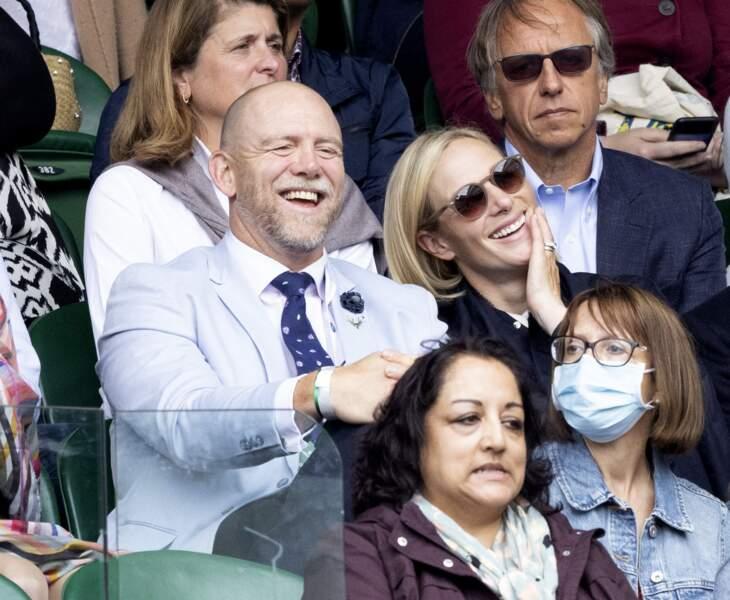 Zara Phillips et Mike Tindall sont apparus très heureux lors du 9ème jour de compétition à Wimbledon, le 7 juillet 2021