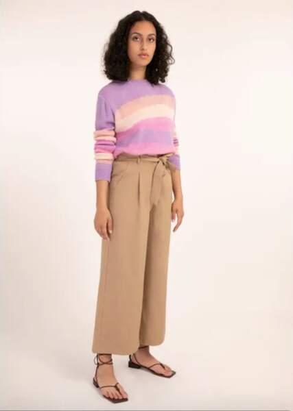 Pantalon large taille haute, 45€ au lieu de 75€, Frnch sur la Redoute