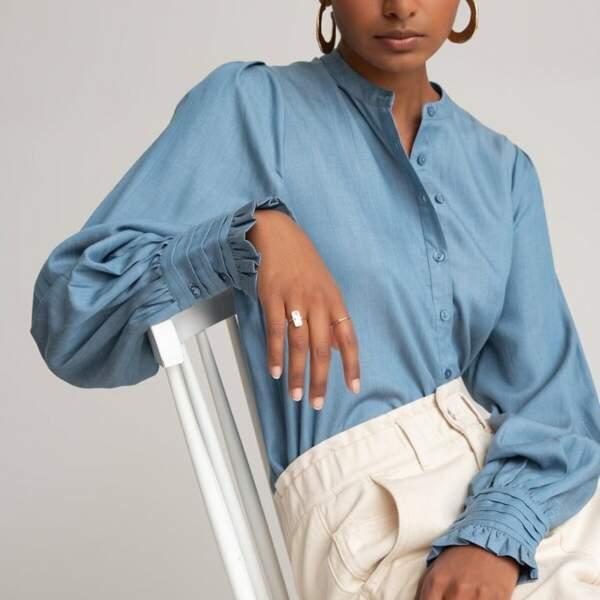 Chemise col mao, manches longues, 25€ au lieu de 49,99€ 25€, La Redoute Collections sur La Redoute