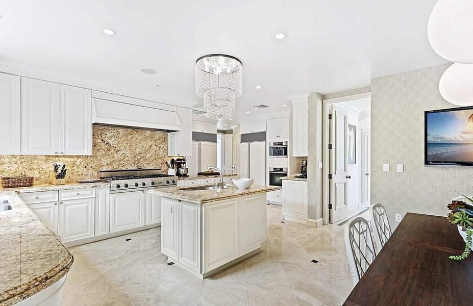 Ce manoir de Miami dispose d'une cuisine toute équipée où le marbre vient se mêler au bois