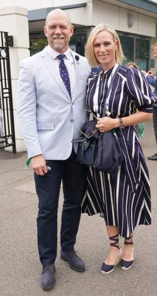 Zara Phillips et son mari Mike Tindall arrivent au tournoi de Wimbledon, au All England Lawn Tennis and Croquet Club, à Londres, le 7 juillet 2021