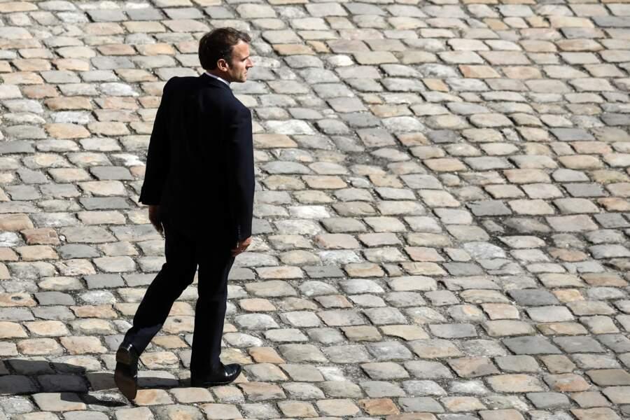Emmanuel Macron lors de la cérémonie de passe d'armes aux Invalides à Paris, le 8 juillet 2021