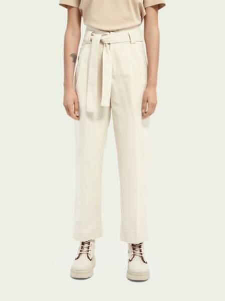 Pantalon en sergé high-rise, Scotch _ Soda, 64,50€ au lieu de 129€.