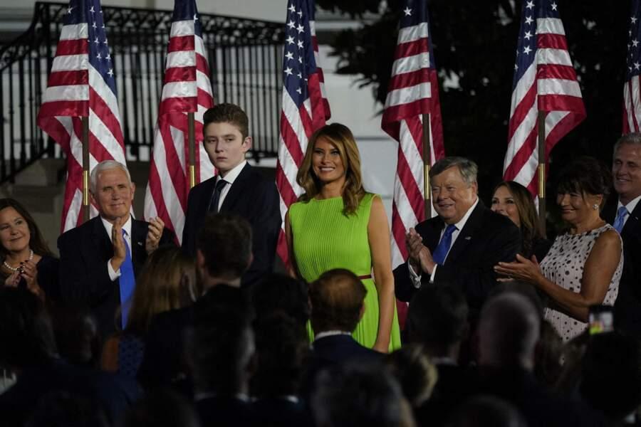 Barron Trump apparaissait déjà très grand lors de l'investiture pour le parti républicain à Washington  le 27 Août 2020.