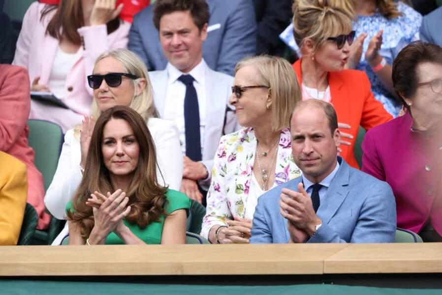 Martina Navratilova et Billie Jean King ont échangés avec le duc et la duchesse lors de la finale féminine de Wimbledon ce 10 juillet.