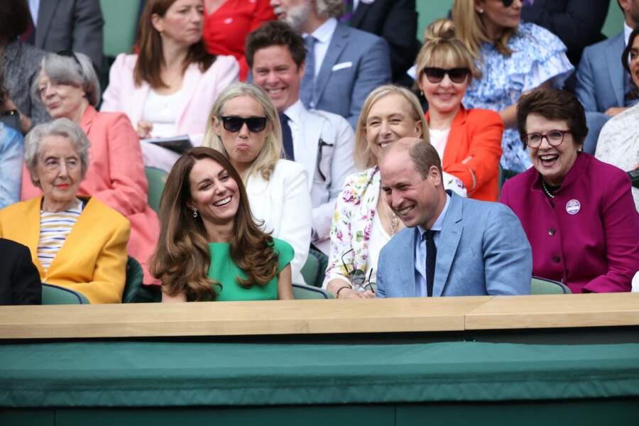 Les Cambridge sont apparus très souriant dans les gradins à Wimbledon, ce 10 juillet.