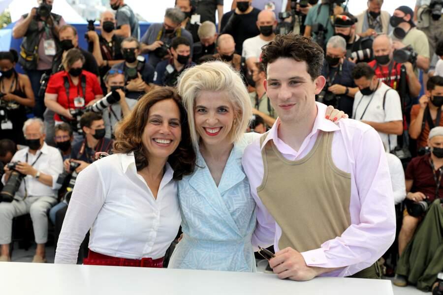 Elizabeth Karlsen, Eva Husson, Josh O'Connor au photocall du film Mothering Sunday