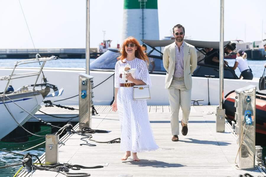 Jessica Chastain et son mari Gian Luca Passi à Cannes le 7 juillet 2021