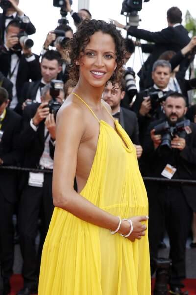l'ex-top Noémie Lenoir, enceinte en robe solaire à Cannes en mai 2015