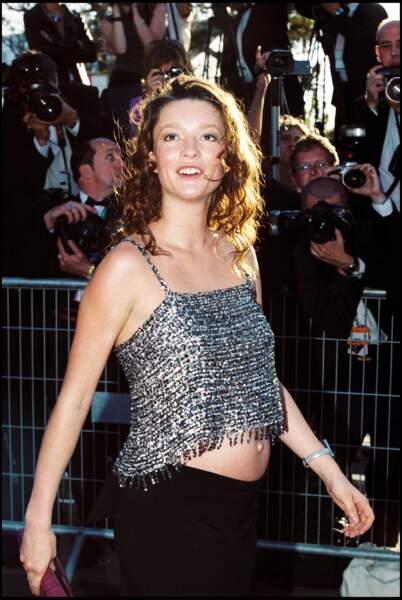 La top Audrey Marnay enceinte au festival de Cannes en 2000
