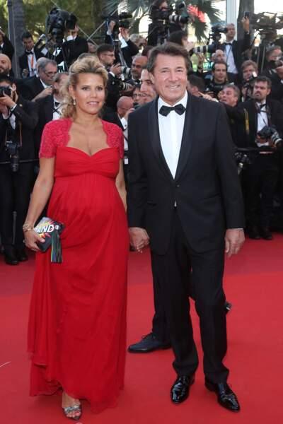 Laura Tenoudji enceinte au festival de Cannes, avec son mari Christian Estrosi, le 17 mai 2017.