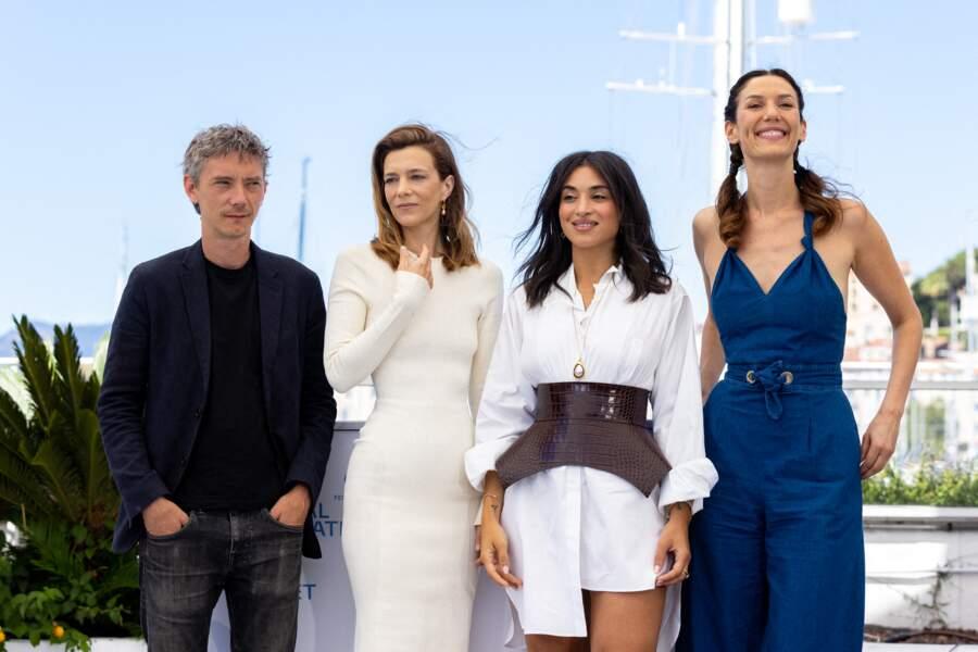 Swann Arlaud, Céline Sallette, Camélia Jordana et Doria Tillier au photocall des Talents Adami lors du 74ème festival international du film de Cannes, le 13 juillet 2021