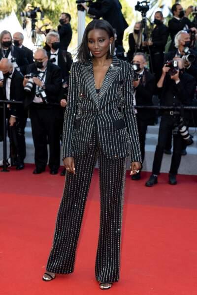 L'actrice Kardija Touré sur le tapis rouge du Festival de Cannes le 14 juillet 2021