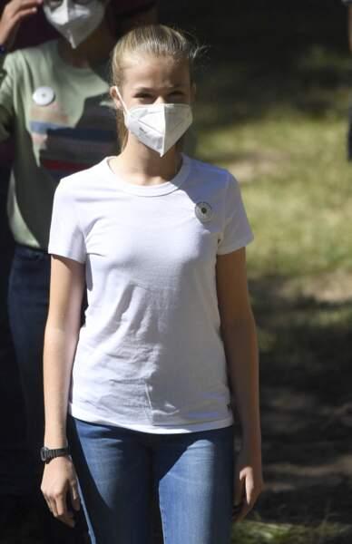 La princesse Leonor lors de sa sortie à Hayedo de Montejo ce 14 juillet
