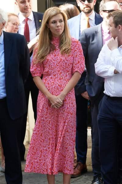 Carrie Symonds assiste au premier discours de son compagnon Boris Johnson, en tant que Premier ministre, devant le 10 Downing Street, à Londres, le 24 juillet 2019
