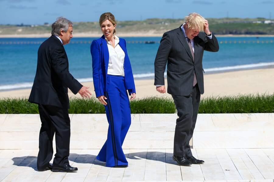 Carrie Symonds fait sensation au sommet du G7 aux côtés d'Antonio Guterres, le Secrétaire général des Nations Unies, et de son époux Boris Johnson, à Carbis Bay, le 12 juin 2021