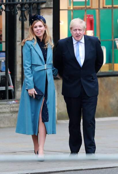 Carrie Symonds aux côtés de son mari Boris Johnson lors de la cérémonie du Commonwealth, à l'abbaye de Westminster de Londres, le 9 mars 2020