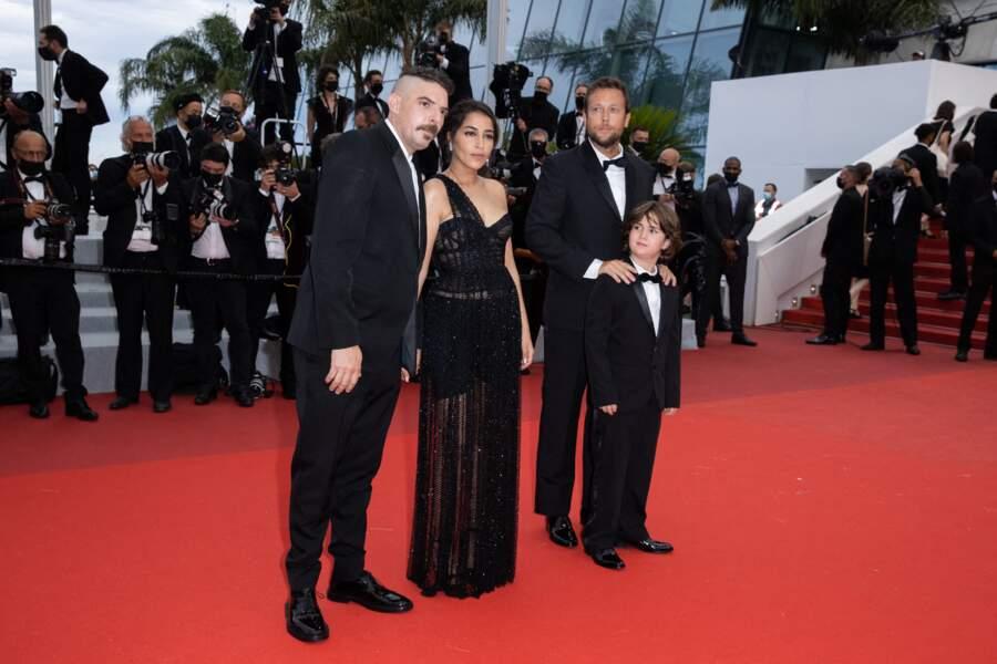 Leïla Bekhti accompagnée de Damien Bonnard, Joachim Lafosse et Gabriel Merz Chammah, le petit-fils d'Isabelle Huppert.