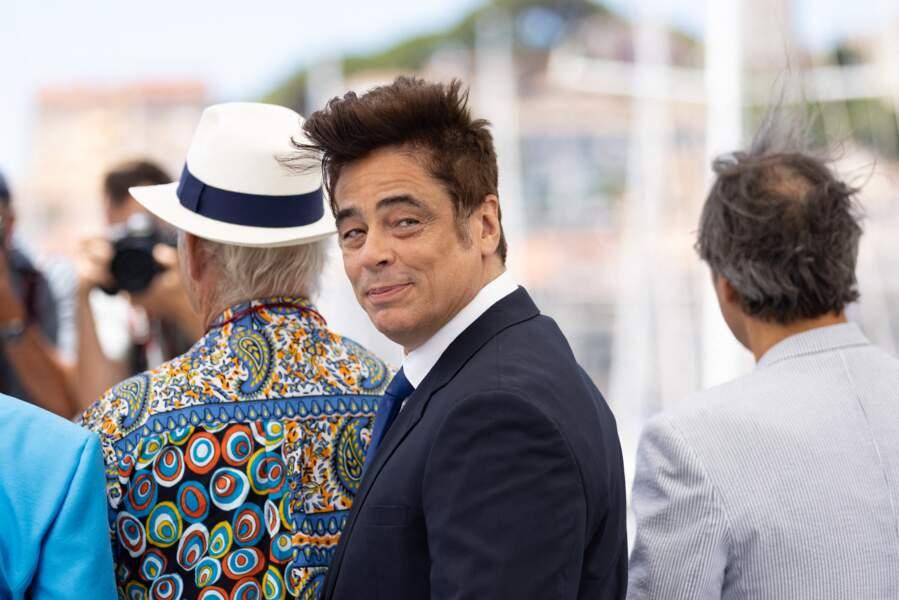 Benicio Del Toro au photocall du film The French Dispatch  le 13 juillet 2021, a séduit la Croisette.