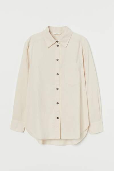 Chemise en doux velours côtelé, 9,99€, H&M