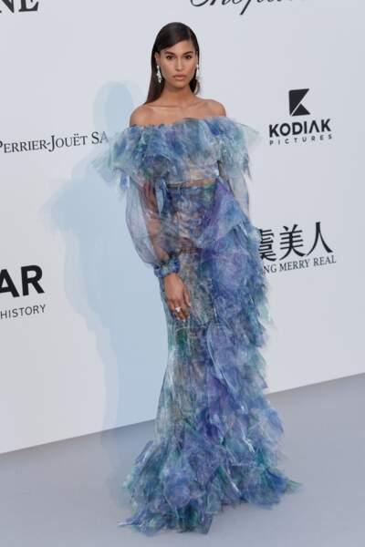 Cindy Bruna à l'Amfar en 2012 : élégante en robe longue à frou frou