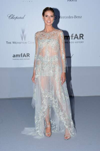 Heidi Klum à l'Amfar en 2012 : ravissante en tenue transparente