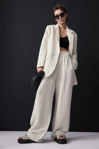 Pantalon large crème, 19,99€, H&M