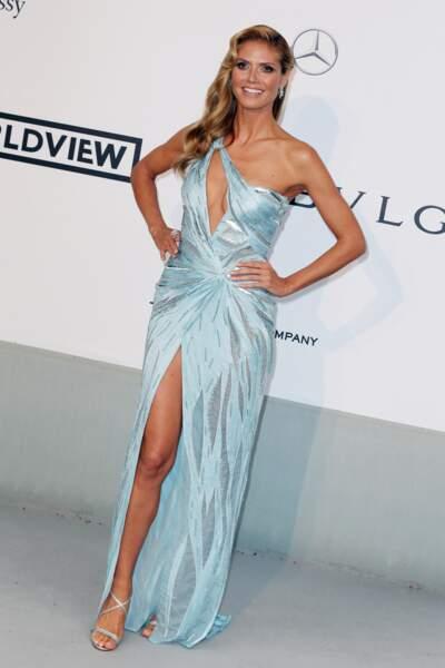 Heidi Klum à l'Amfar en 2014 : une belle robe longue fendue