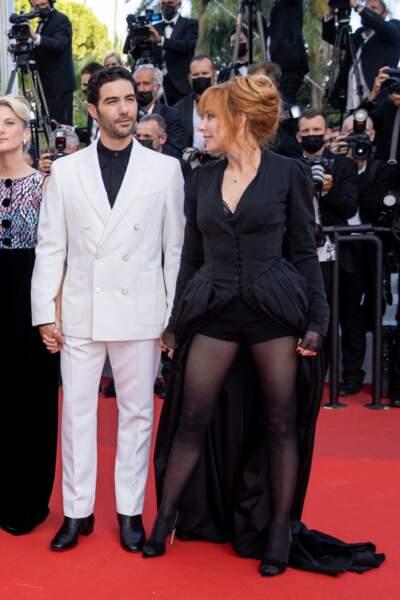 Mylène Farmer et Tahar Rahim lors du 74e Festival de Cannes, le 17 juillet 2021