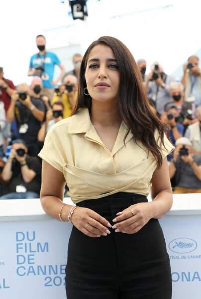 Leïla Bekhti au photocall du film Les Intranquilles lors du 74ème festival international du film de Cannes le 17 juillet