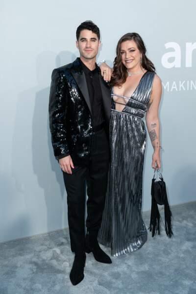 Darren Criss et sa femme Mia Swier ont aussi participé au gala de l'amfAR à la Villa Eilen Roc au Cap d'Antibes, le 16 juillet