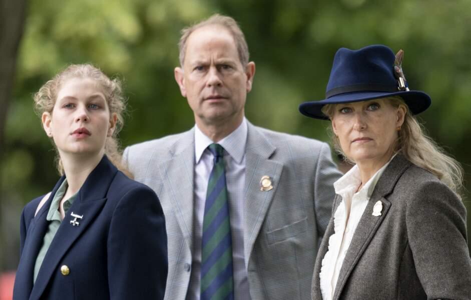 Le prince Edward en compagnie de sa femme, Sophie Rhys-Jones et de leur fille, Lady Louise Windsor