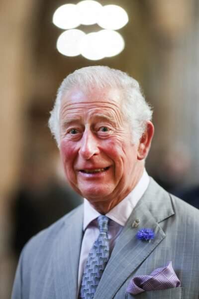 Pour cette visite, le prince Charles a misé sur un costume gris clair assorti à une cravate bleu ciel ornée de zèbres, lors de sa venue dans le Devon, le 19 juillet 2021