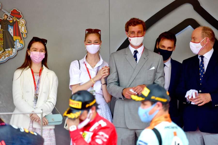 Alexandra de Hanovre et la famille princière lors du Grand Prix de F1 de Monaco le 23 mai 2021.