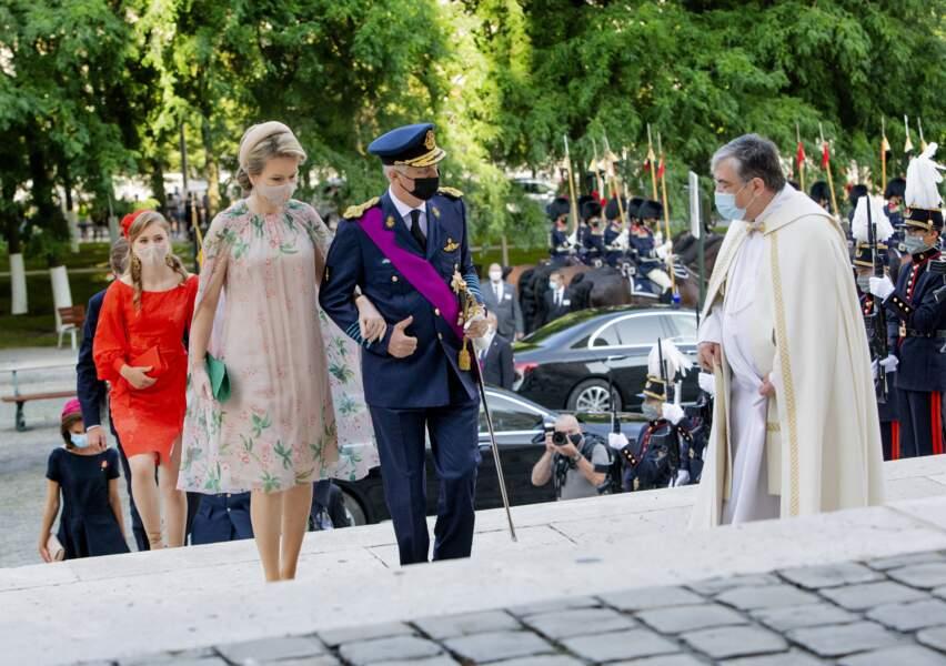 """Le roi Philippe et la reine Mathilde de Belgique ont assisté à la cérémonie du """"Te Deum"""" à la cathédrale des Saints-Michel-et-Gudule à Bruxelles, à l'occasion de la fête Nationale belge."""