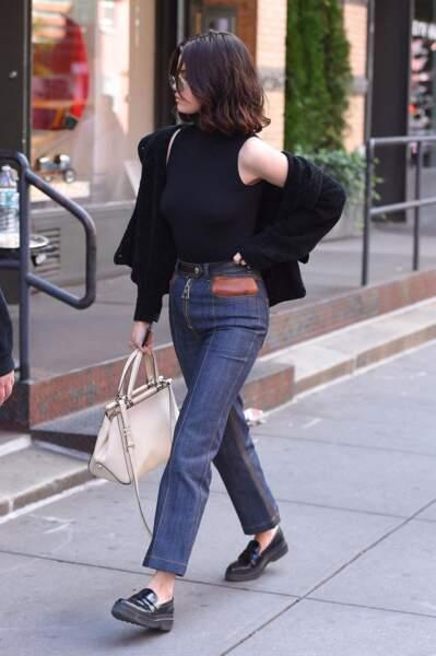 Selena Gomez en 2017 : Elegante et décontractée en denim et mocassins