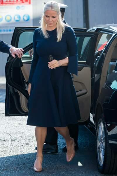 La princesse Mette-Marit de Norvège fait une apparition très remarquée lors de son arrivée à la cérémonie de commémoration de l'attentat perpétré par Anders Breivik en 2011, à Oslo, ce 22 juillet 2021