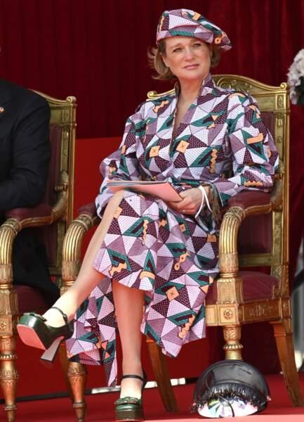 La princesse Delphine de Belgique a fait sensation avec sa robe ethnique.