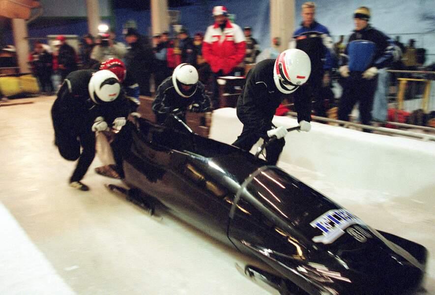 Albert de Monaco avec son bobsleigh