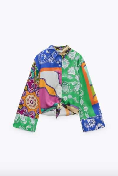 Chemise patchwork à noeud, 39,95€, Zara