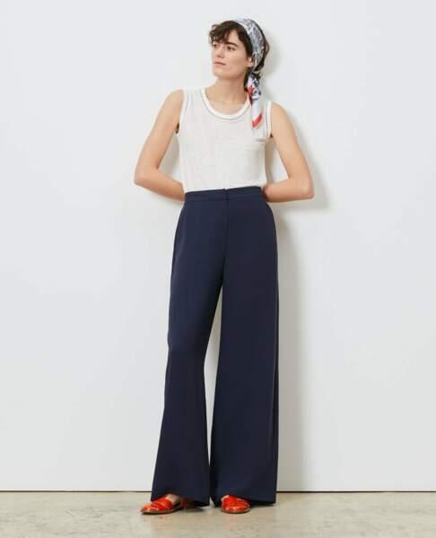 Pantalon large et taille haute bleu marine, 67,50€, Comptoir des Cotonniers