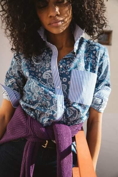 Chemise ulysse à imprimé bandana rayures bleues en coton biologique, 95€, Balzac Paris