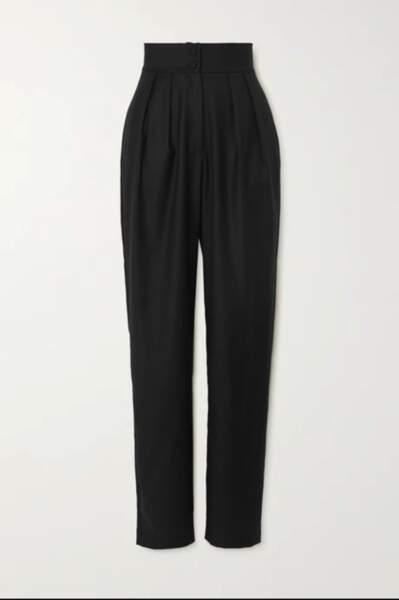 Pantalon droit en crêpe de laine à plis, 245€, Matériel sur Net-à-porter