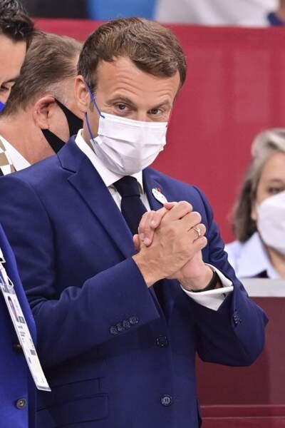 Emmanuel Macron s'est déplace pour assister à la cérémonie d'ouverture des Jeux Olympiques de Tokyo 2020, le 23 juillet