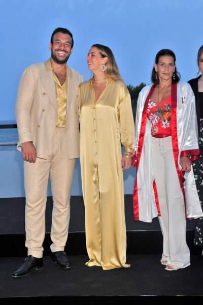 La princesse Stéphanie aux côtés de Pauline Ducruet et son compagnon,  Maxime Giaccardi, le 24 juillet au gala de Fight Aids Monaco