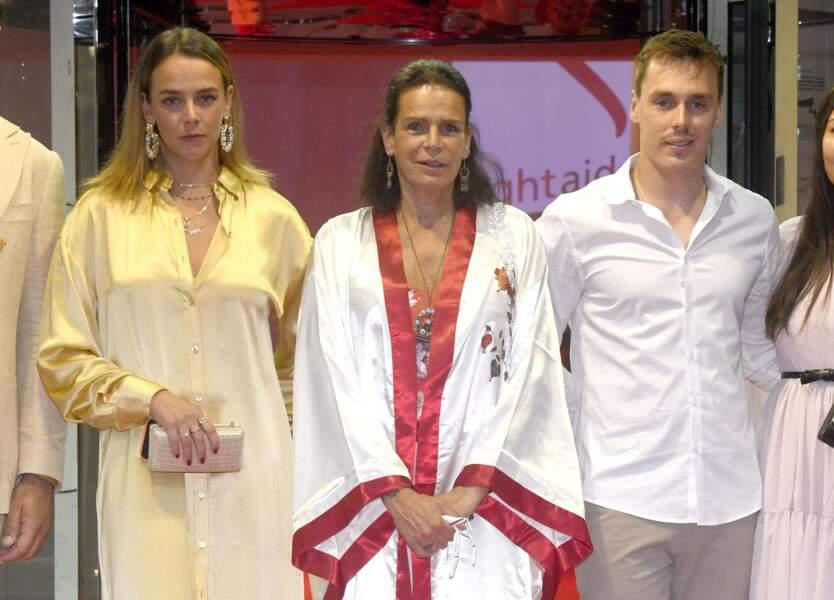 Pauline Ducruet et son frère, Louis Ducruet, en présence de leur mère, la princesse Stéphanie de Monaco au gala de Fight Aids Monaco, le 24 juillet