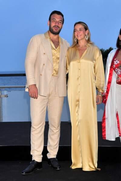 Maxime Giaccardi et Pauline Ducruet ont opté pour un look dorée à la soirée de Fight Aids Monaco, le 24 juillet