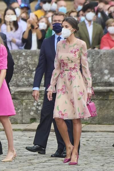 La reine Letizia d'Espagne le jour de la fête nationale de la Galice, ce 25 juillet