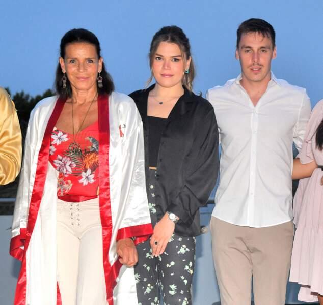 La princesse Stéphanie de Monaco aux côtés de Camille Gottlieb et Louis Ducruet durant le traditionnel gala de Fight Aids Monaco,  le 24 juillet